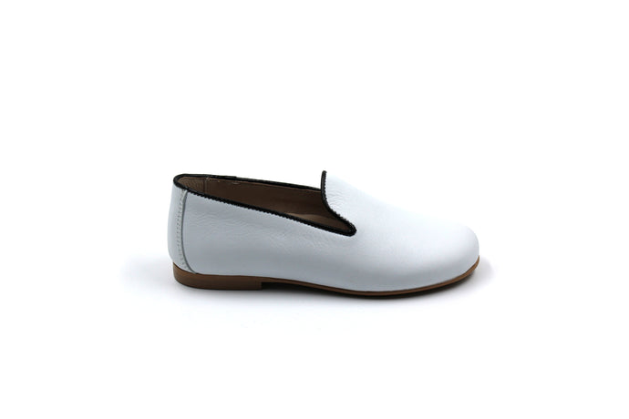 Hoo White and Black Trim Smoking Dress Shoe