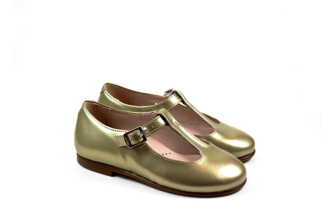 Beberlis Gold T-strap Girls Shoes