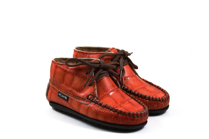 Atlanta Orange Croc Booties