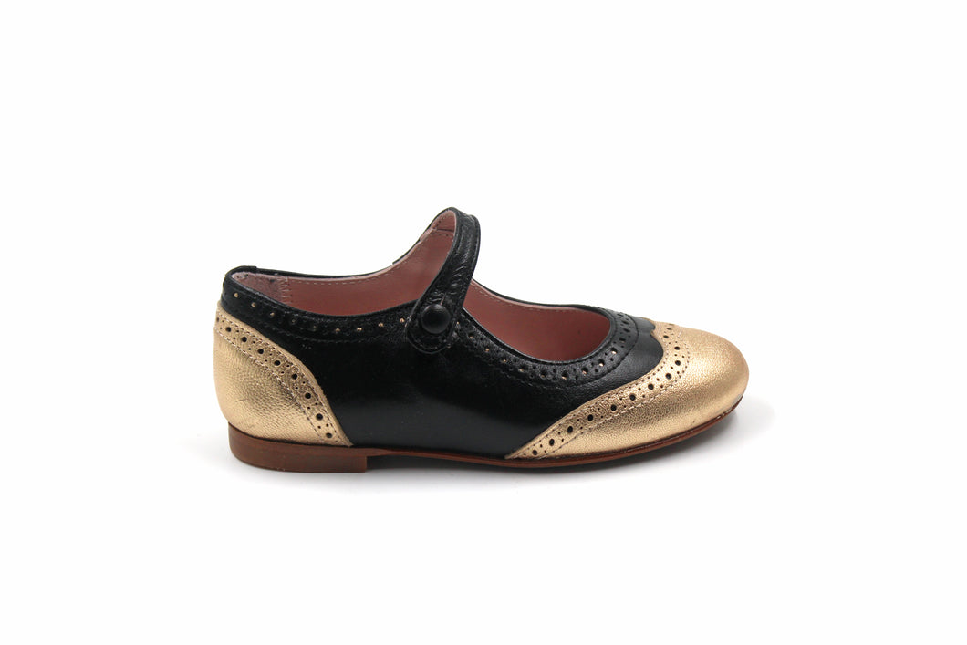 LMDI Gold Doll Wingtip Mary Jane