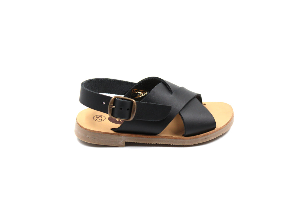 LMDI Black Criss Cross Kids Sandals