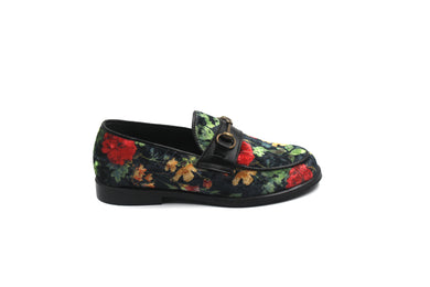 LMDI Black Velvet Floral Loafer