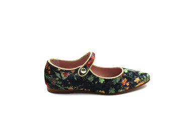 LMDI Black Velvet Floral Pointed Mary Jane