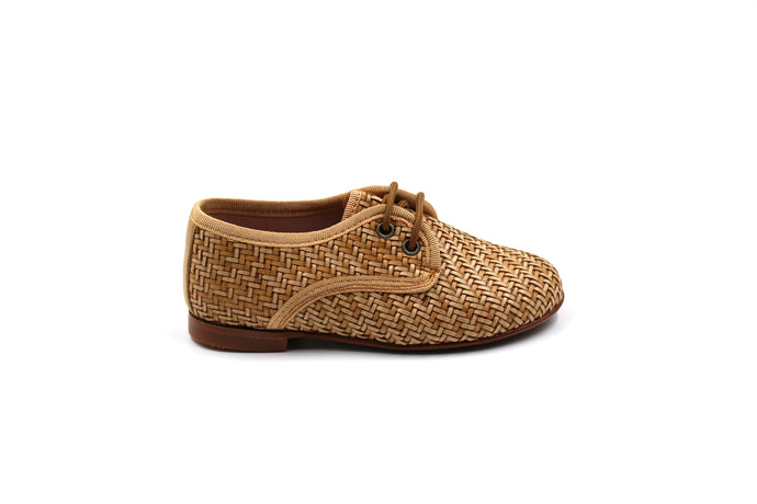 LMDI Camel Wicker Oxford Kids Dress Shoes