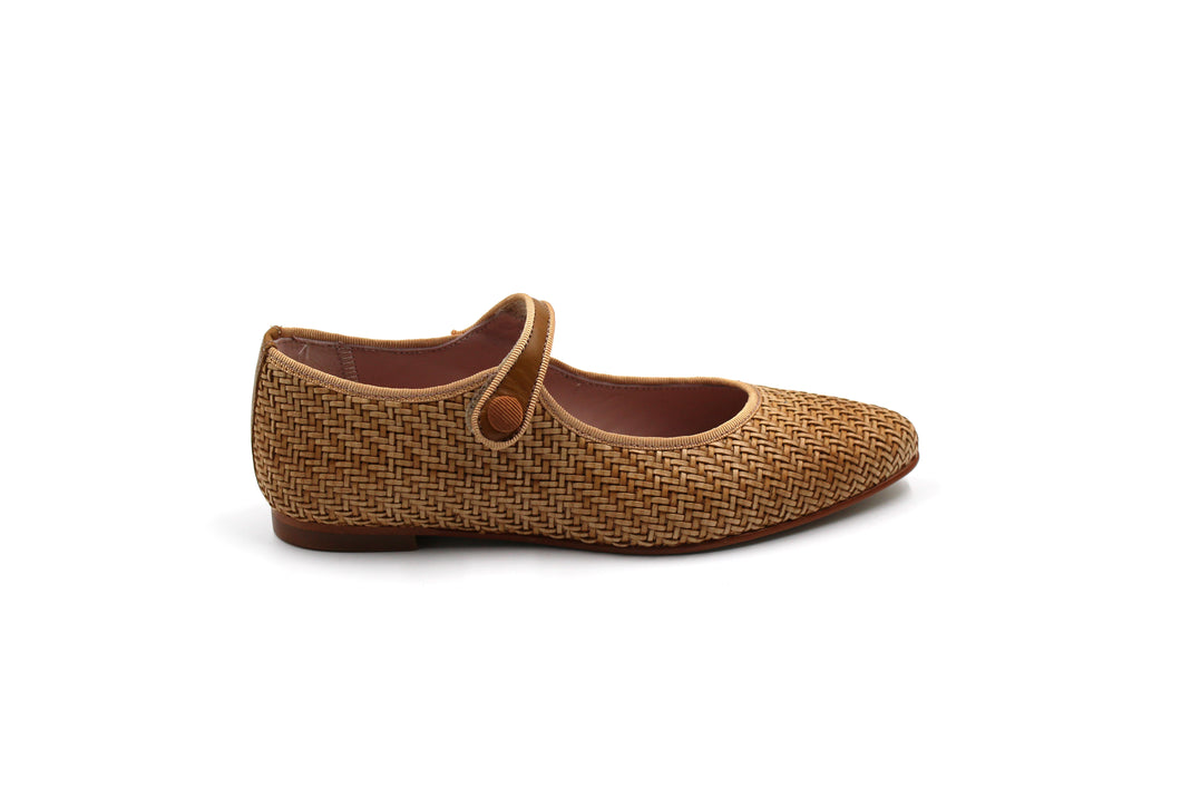 LMDI Camel Wicker Pointed Mary Jane