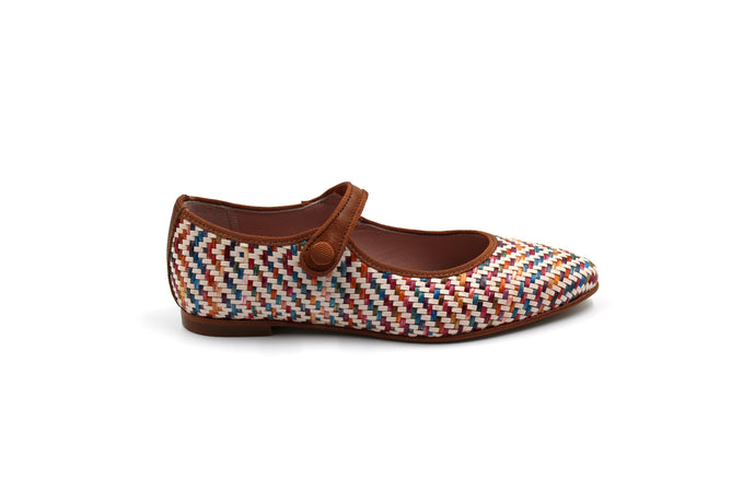 LMDI Multicolor Wicker Pointed Mary Jane