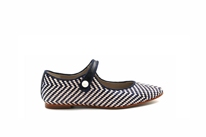 LMDI Pointy Mary Jane Blue and White Wicker