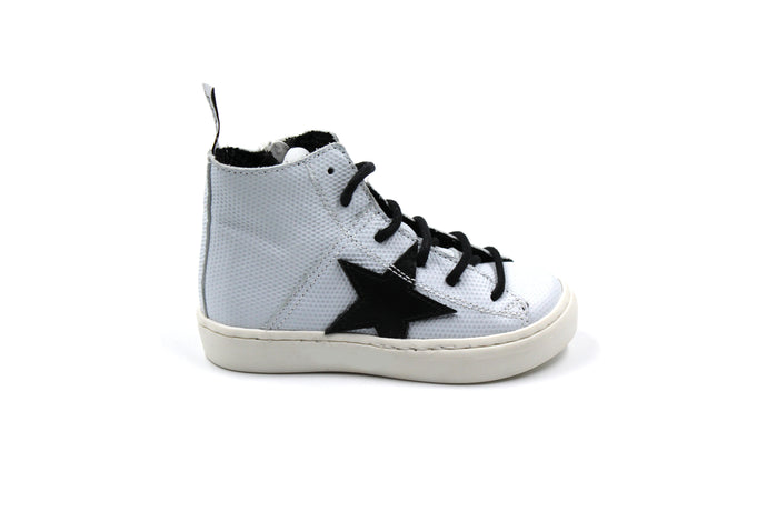 MAA White and Black Star High Top Kids Sneaker