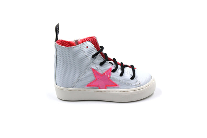 MAA White and Pink Star High Top Sneaker
