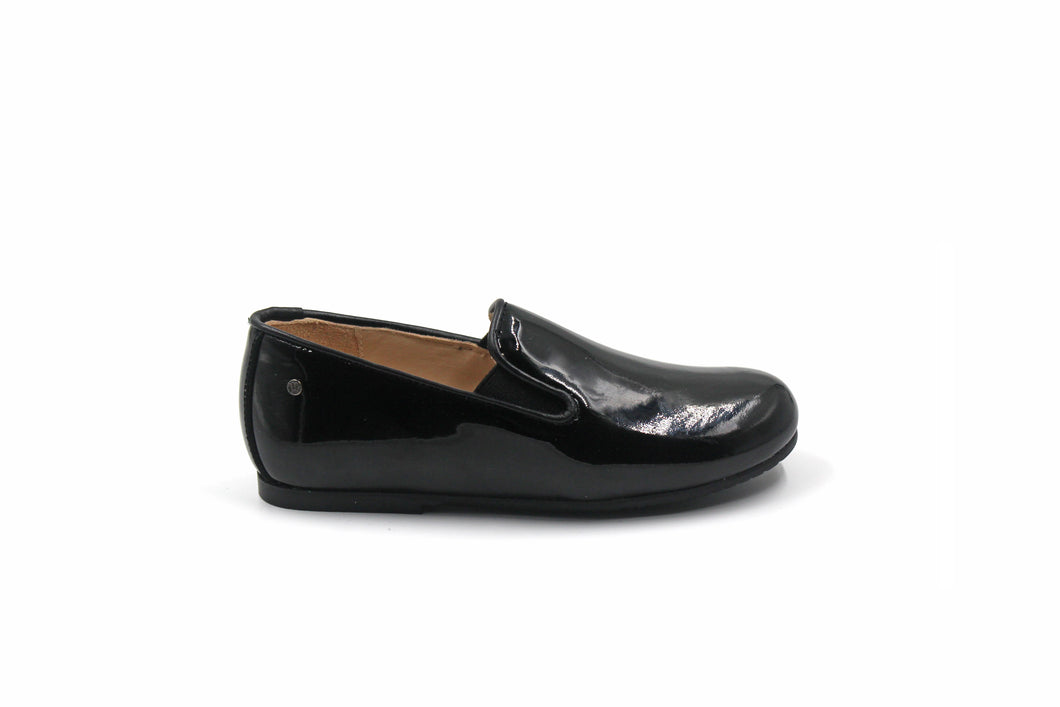 Manuela De Juan Black Patent Smoking Shoe