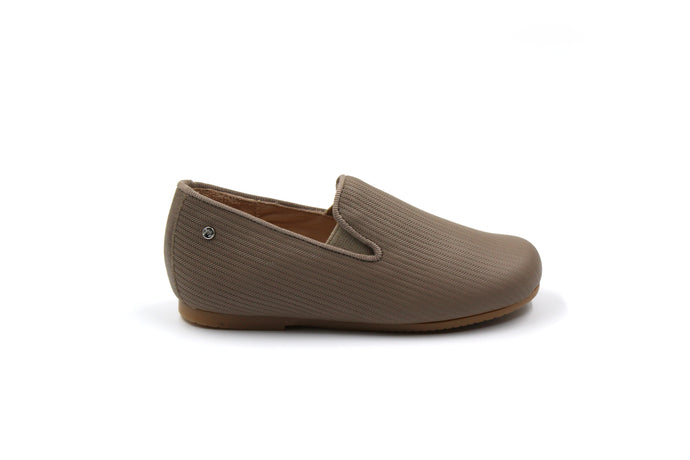 Manuela De Juan Taupe Textured Smoking Shoe