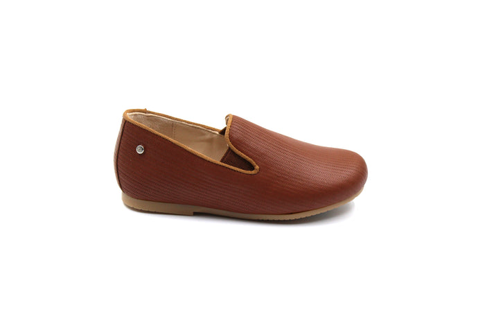Manuela De Juan Camel Textured Smoking Shoe