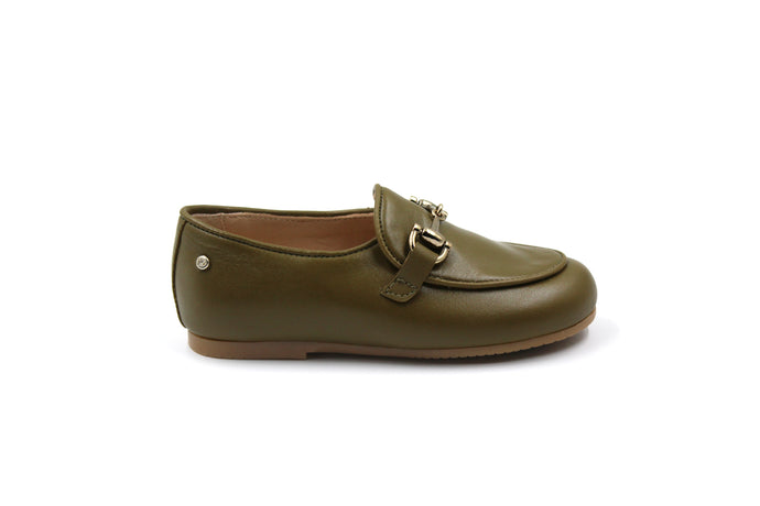 Manuela De Juan Khaki Buckle Smoking Shoe