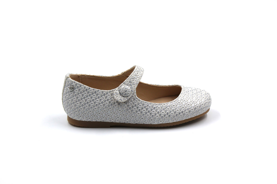 Manuela De Juan Silver Textured Mary Jane