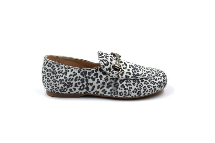 Manuela De Juan Leopard Buckle Smoking Shoe