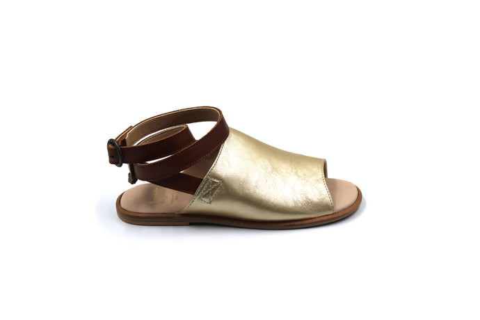 Manuela De Juan Gold and Camel Sandal