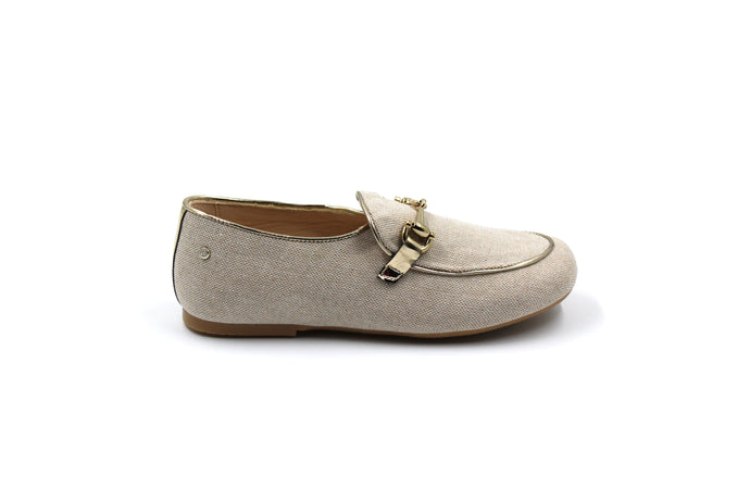 Manuela De Juan Linen Buckle Smoking Shoe