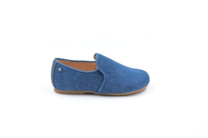 Manuela De Juan Blue Linen Smoking Shoe