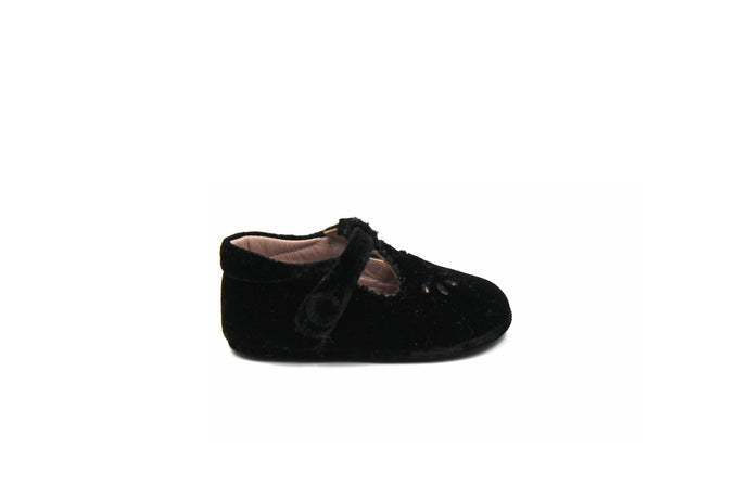Papanatas Black Velvet Soft Baby Shoe