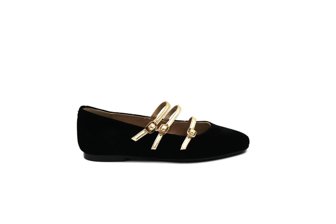 Papanatas Black Velvet 3 Strap Pointed Mary Jane