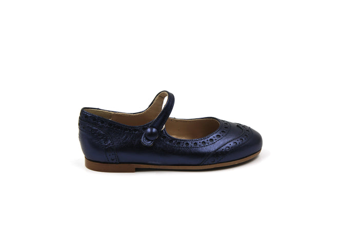 Papanatas Blue Metallic Wingtip Mary Jane