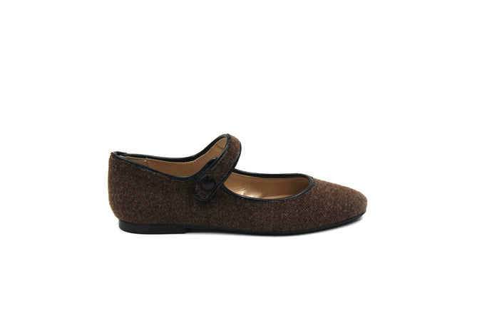 Papanatas Brown Wool Pointed Mary Jane