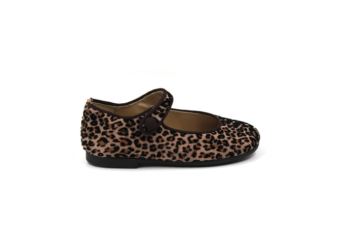 Papanatas Leopard Velvet Mary Jane
