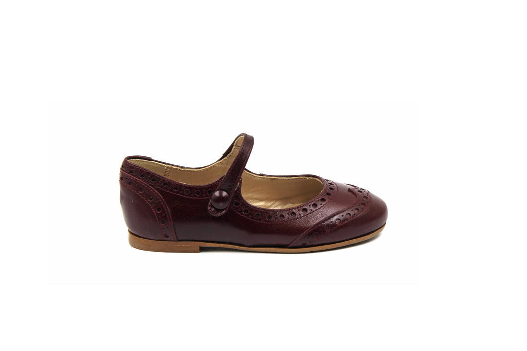 Papanatas Burgundy Wingtip Mary Jane