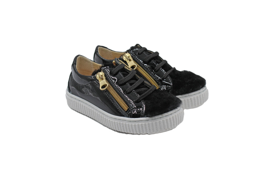 Papanatas Black Patent Leather and Fur Detail Sneaker