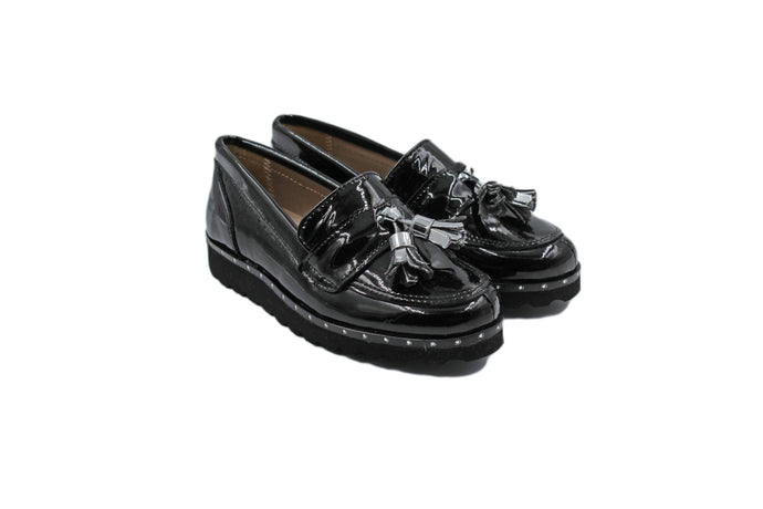 Papanatas Silver Tassel Black Patent Loafer