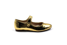 Papanatas Gold Metallic Pointed Mary Jane