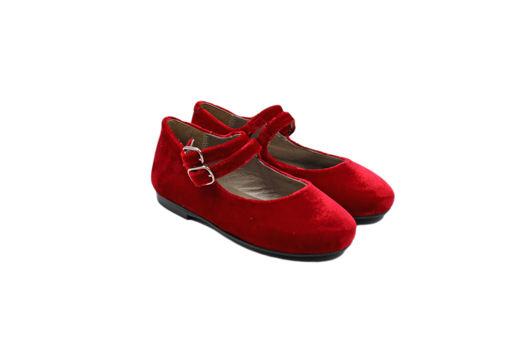 Papanatas Red Velvet Double Buckle Mary Jane