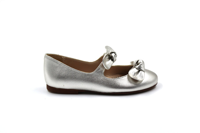 Papanatas Silver Double Bow Dress Shoe