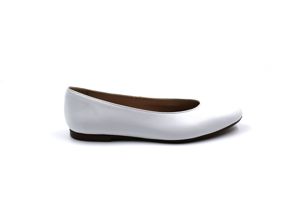 Papanatas White Leather Pointed Flat