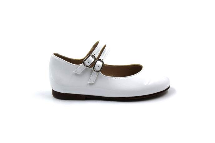 Papanatas White Patent Double Buckle Mary Jane