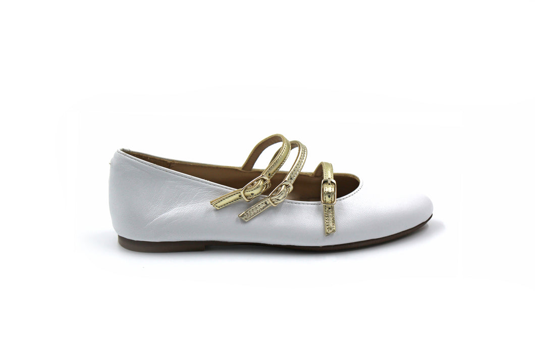 Papanatas White 3 Buckle Dress Shoe