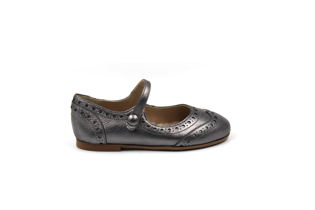 Papanatas Gunmetal Wingtip Mary Jane