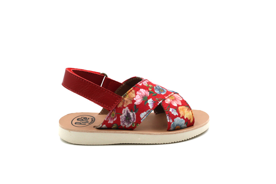 Pepe Red Floral Sandal