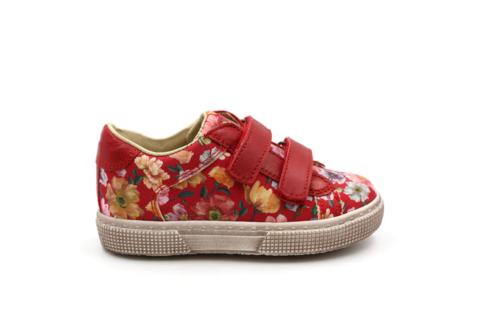 Pepe Red Floral Velcro Sneaker