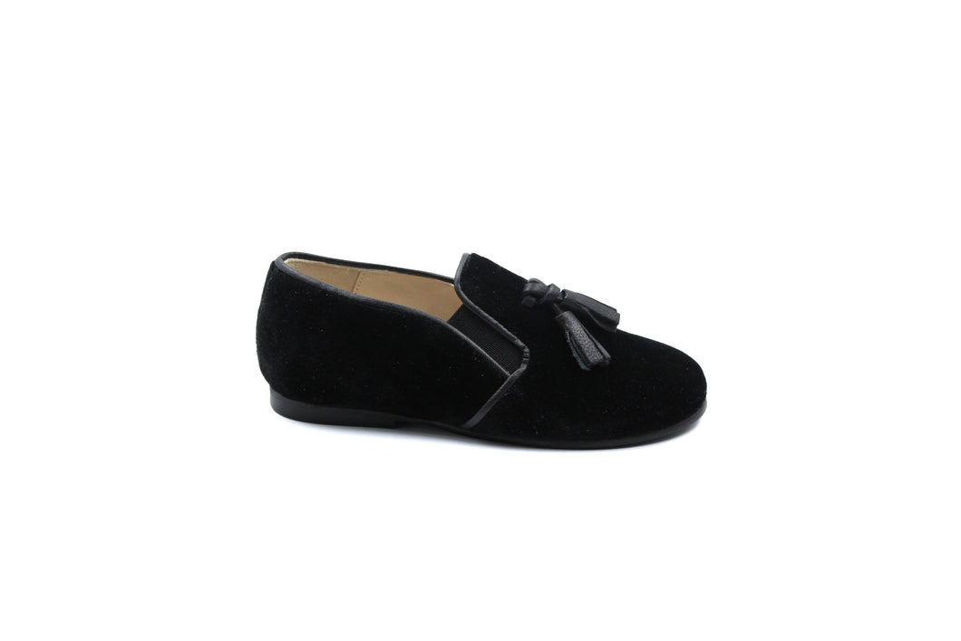 Sonatina Black Velvet Tassel Smoking Shoe
