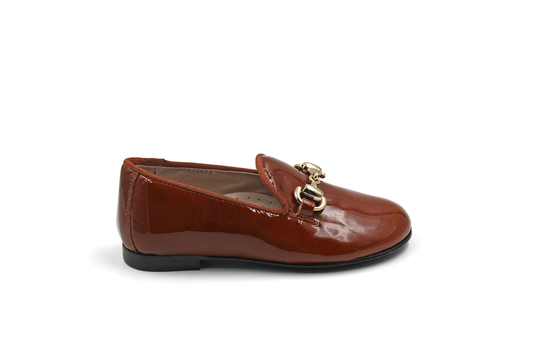 Hoo Brown Patent Buckle Smoking Shoe