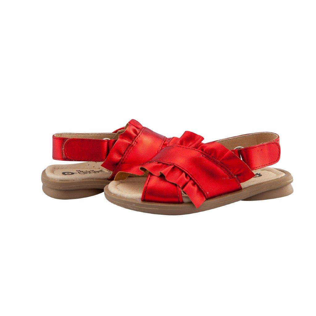 Old Soles Red Metallic Ruffle Sandal