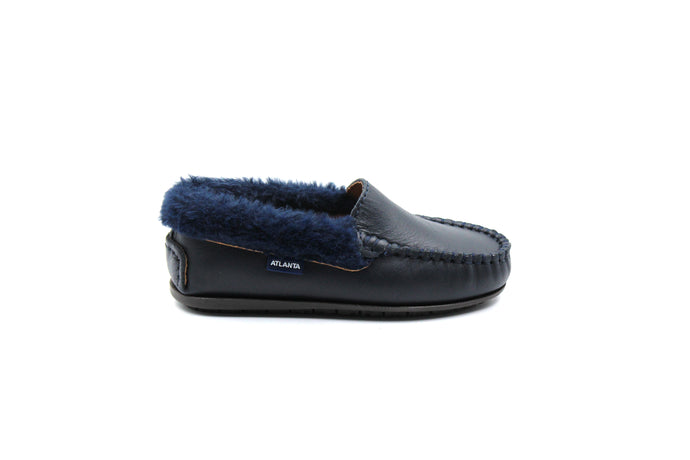 Atlanta Navy Fur Trimmed Loafer