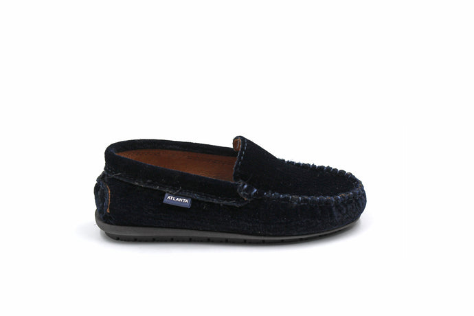 Atlanta Navy Velvet Embroidered Loafer
