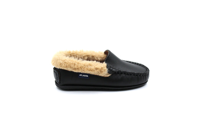 Atlanta Black Fur Trimmed Loafer