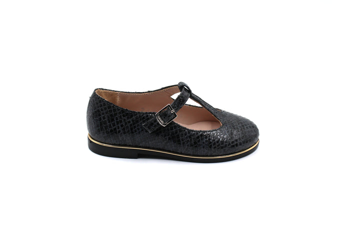 Beberlis Black Scale T-Strap-Kids Toddler Girls Shoes Online