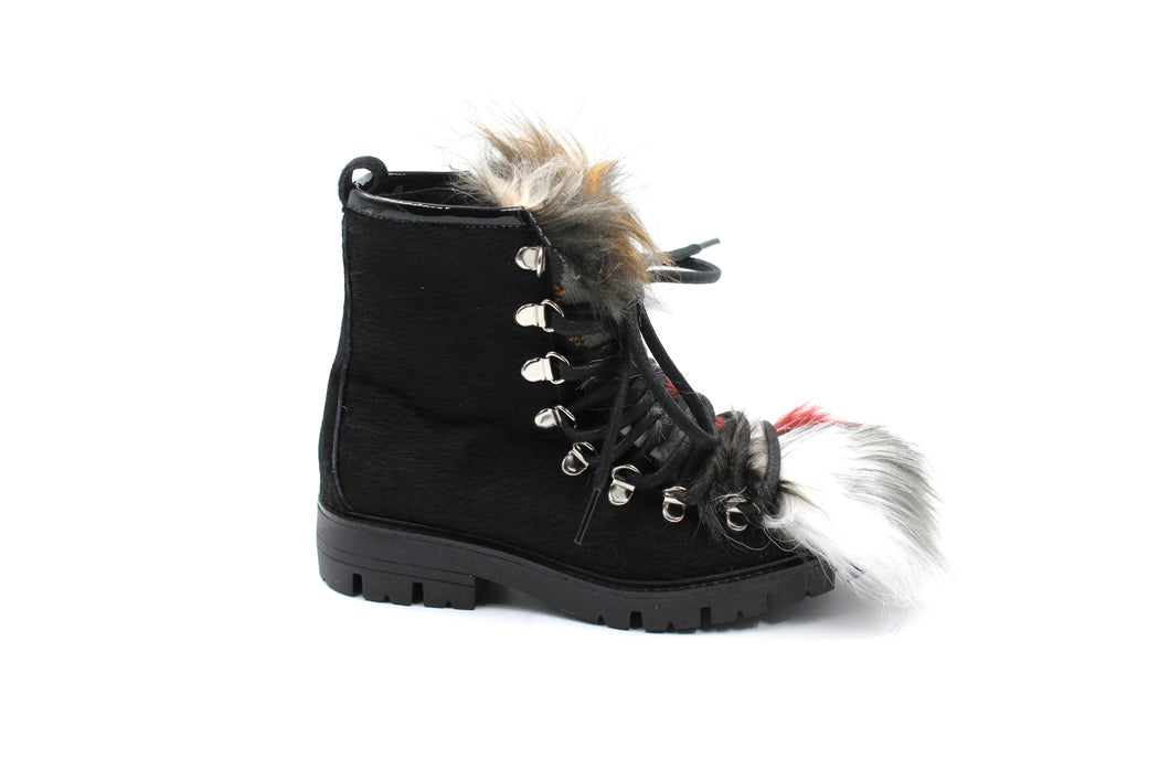 Papanatas Black Multi Fur Bootie