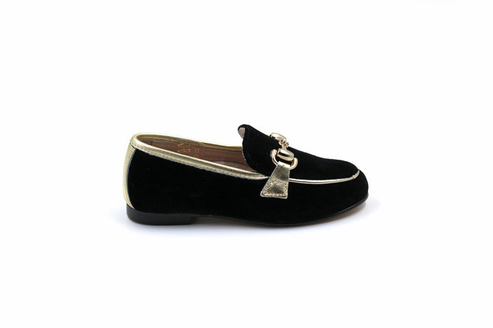 Hoo Black Velvet Gold Trimmed Loafer
