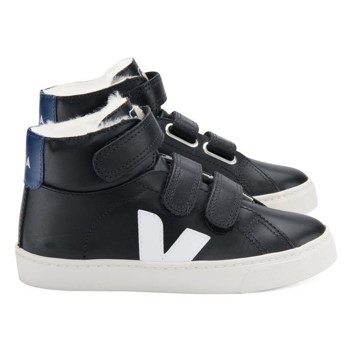 Veja Esplar Hi-Top Fur Lined Leather Trainers Black