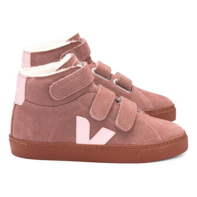 Veja Esplar Hi-Top Fur Lined Suede Trainers Dusty Pink